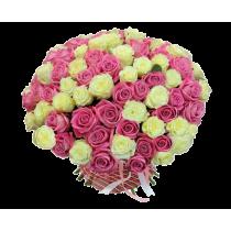 """Букет """"Бело-розовый микс"""" из 101 розы"""
