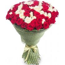 "Букет ""101 краснобелая роза"""